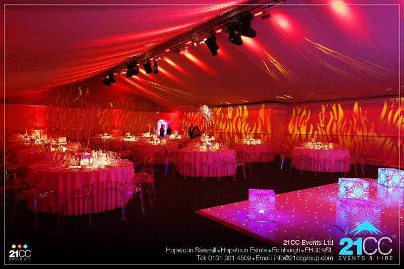 Dundas Castle 21cc corporate event fire and ice themed
